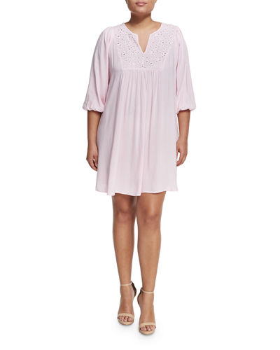 Studded-Bib 3/4-Sleeve Dress, Plus Size