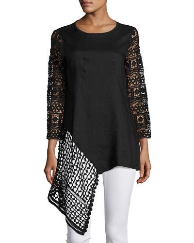 3/4 Sleeve Crochet Trim Tunic Top
