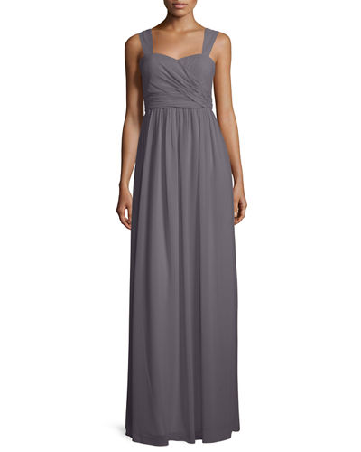 Sleeveless Ruched Chiffon Gown