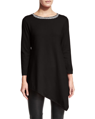 Jewel-Neck Asymmetric Tunic