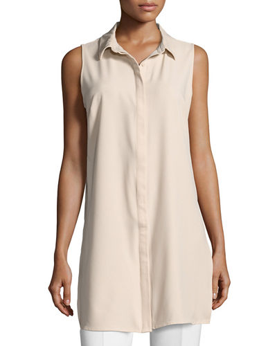 Button-Front Sleeveless Tunic Blouse