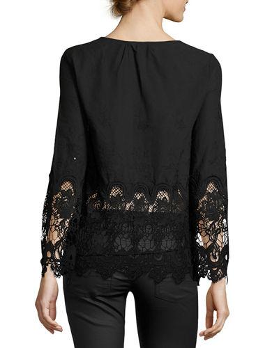Lace-Trim Embroidered Blouse