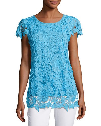 Cap-Sleeve Lace-Overlay Blouse