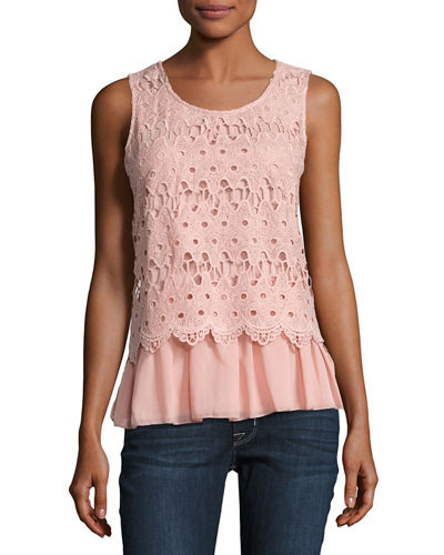 Lace-Overlay Jersey Tank