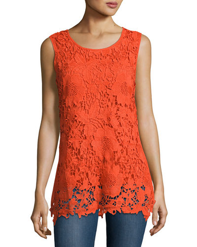 Lace-Front Knit Tank