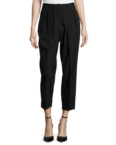 Slim Pleated Cuff Pants