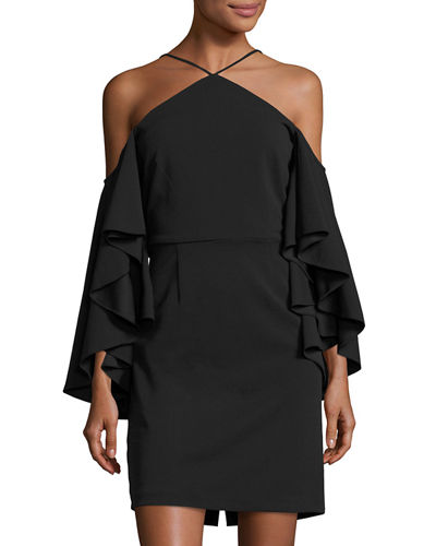 Flutter-Sleeve Halter-Neck Crepe Dress