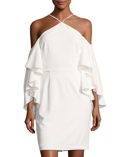 Flutter Sleeve Halter Neck Crepe Dress