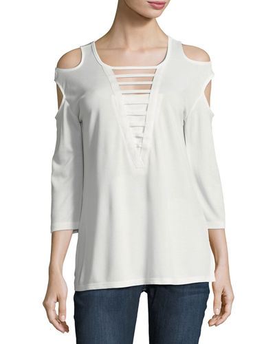Double Cold-Shoulder Ladder-Inset Top