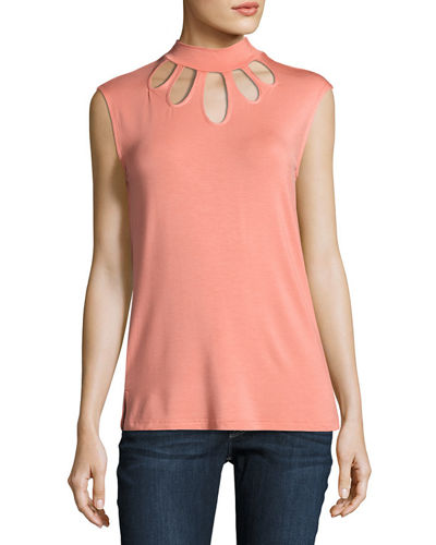 Cutout Yoke Jersey Top