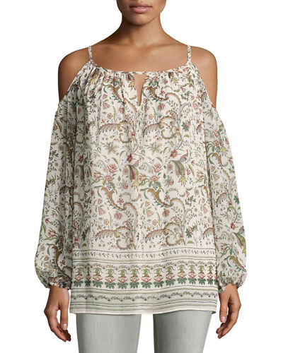 Floral-Print Georgette Cold-Shoulder Blouse