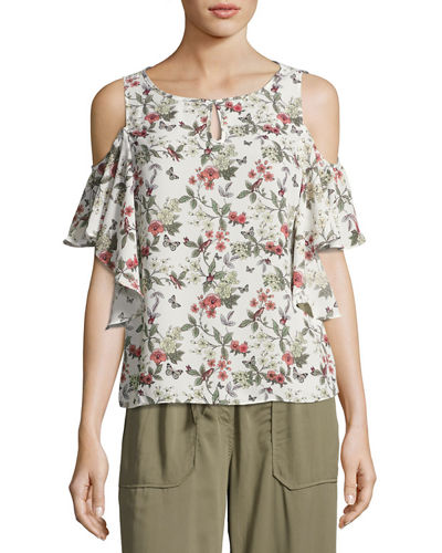 Floral-Print Cold-Shoulder Blouse