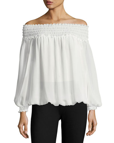 Georgette Crepe Smocked-Trim Blouse