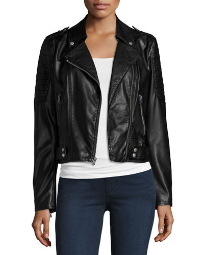 Leanne Faux-Leather Moto Jacket