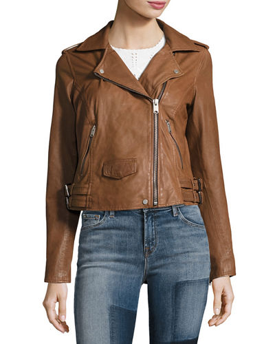 Whitney Washed Leather Moto Jacket