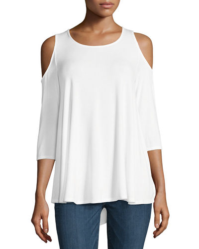 Cold-Shoulder Jersey Swing Top