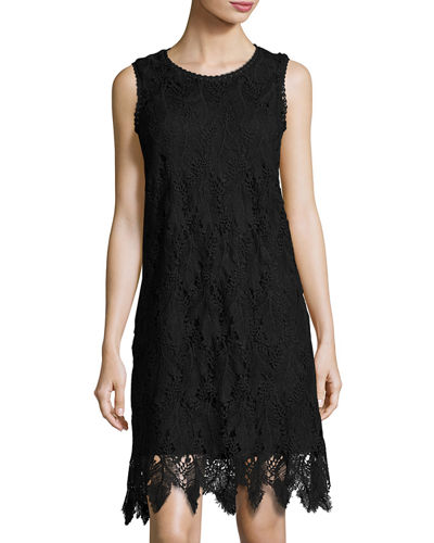 Sleeveless Lace-Overlay Dress
