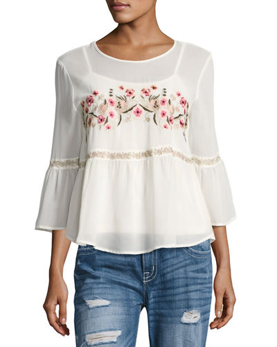 Floral-Embroidered Chiffon Blouse
