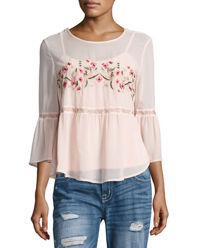 Floral Embroidered Chiffon Blouse