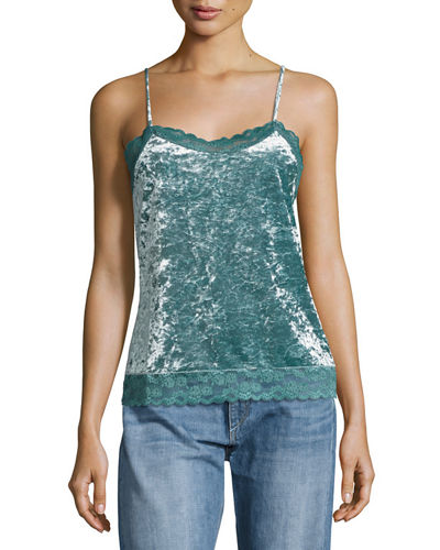 Crushed Velvet Lace Trim Camisole