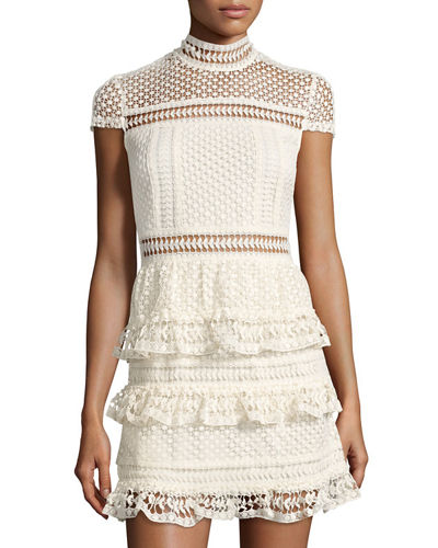 Mock-Neck Crochet-Lace Dress