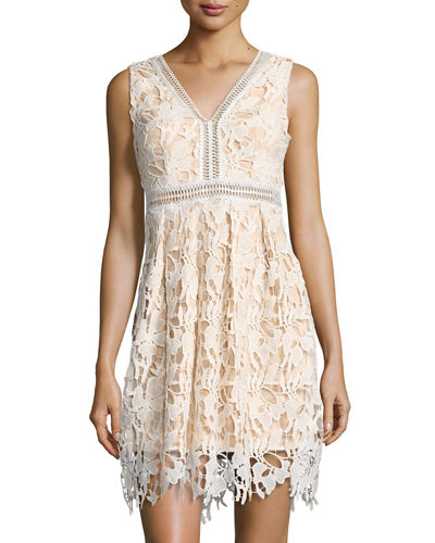 Sleeveless V Neck Lace Dress