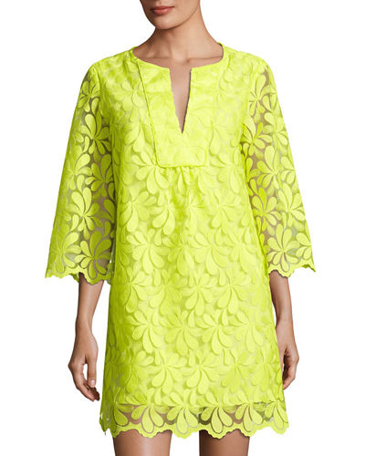 Lilium 3/4 Sleeve Petal Lace Shift Dress