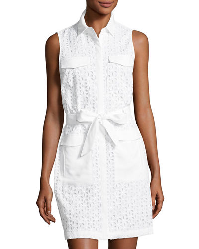 Shea Eyelet Sleeveless Shirtdress