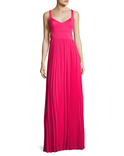 Jasmine Sleeveless Cutout Pleated Gown