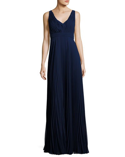 V-Neck Pleated-Chiffon Gown