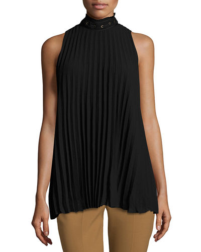 Sleeveless Pleated High-Neck Blouse