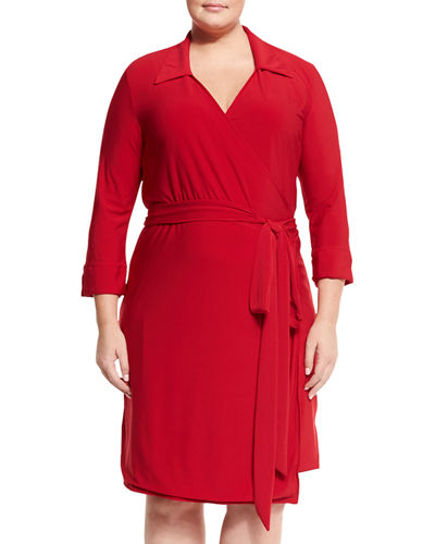 Collared Jersey Wrap Dress, Plus Size