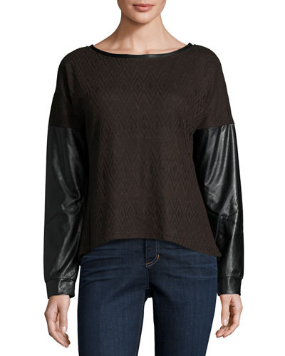 Faux Leather Sleeve Zip Back Sweater Brown