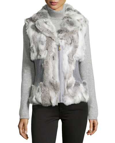 Rabbit Fur Cinched-Waist Vest