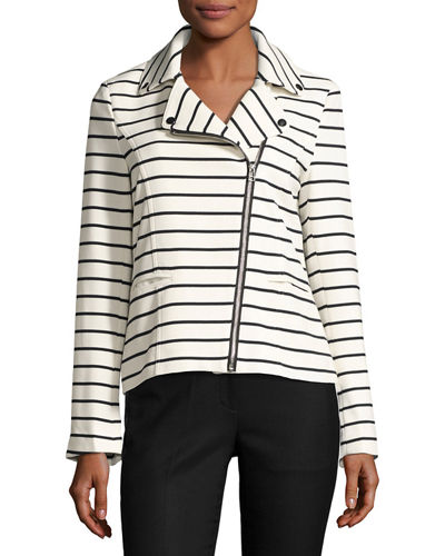 Striped Asymmetric Zip-Front Blazer