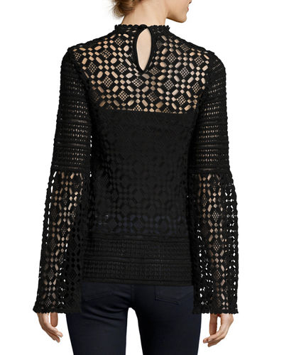 Long-Sleeve Crochet-Lace Blouse