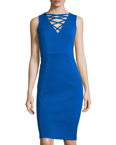 Sleeveless Strappy-Neck Sheath Dress