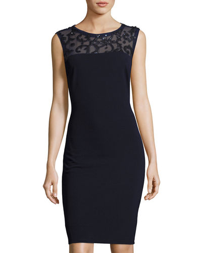 Sequined Illusion-Yoke Sheath Dress
