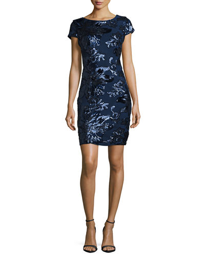 Floral-Sequined Sheath Dress