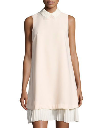 Pleated-Hem Crepe Shift Dress