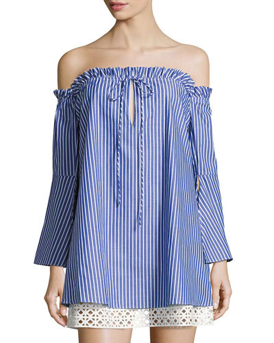 Delainey Off-the-Shoulder Striped Dress