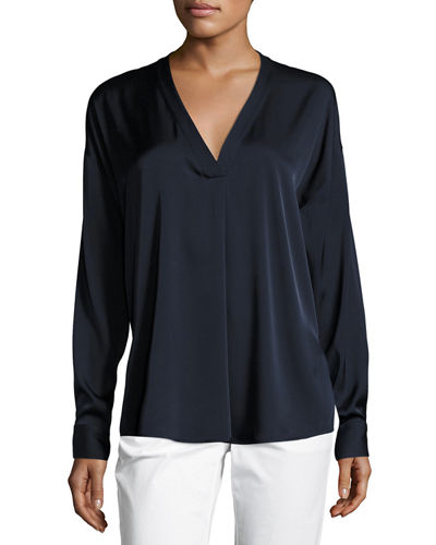 Crossover V-Neck Blouse