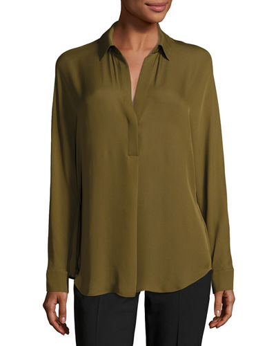 Shirred Split-Neck Silk Blouse