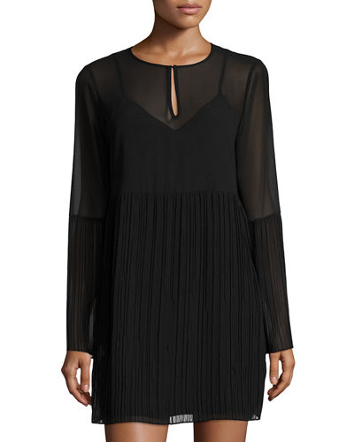 Pleated-Trim Cocktail Dress