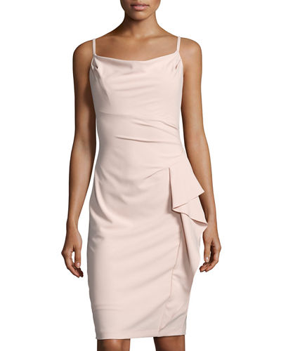 Cowl-Neck Ruffled Sheath Dress