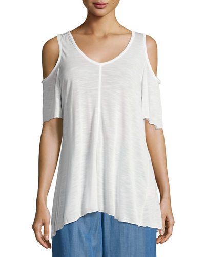 V Neck Cold Shoulder Jersey Top