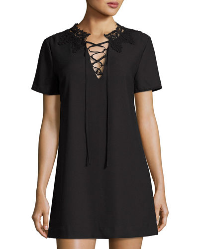 Lace-Trim Shift Dress