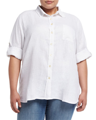 3/4 Sleeve Big Linen Shirt Plus Size