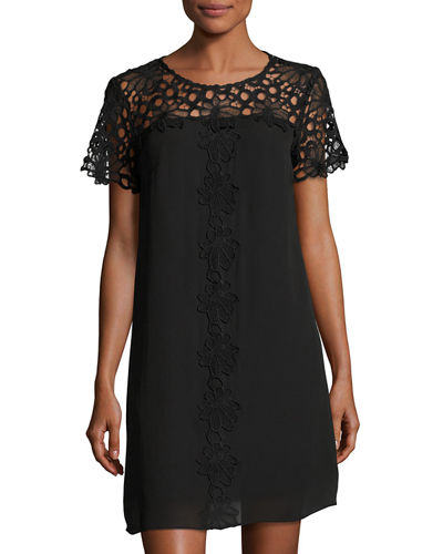 Short Sleeve Lace Yoke Shift Dress