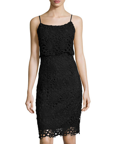 Strappy Lace Peplum Sheath Dress